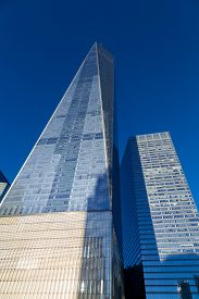 New York City, Usa - Novemberr 18, 2016: Low Angle View Of The World Trade Center In Lower Manhattan