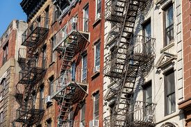 New York, United States Of America - September 22, 2019: Residential Buildings With Typical Fire Esc