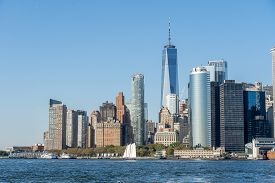 New York, United States Of America - September 19, 2019: Sailboat In Front Of The Lower Manhattan Sk