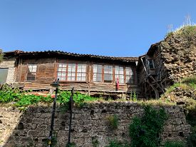 Old Abandoned Ottoman Time Wooden House Building In Old Town Of Antalya Kaleici, Turkey. Horizontal
