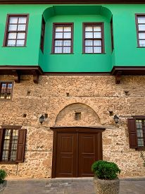 A Facade Of An Old Historical, Building Ottoman Time Architecture In Antalya Old Town Kaleici, Turke
