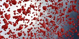 3d Rendering Of Love In The Form Of Heart Shapes Raining From The Sunny Sky