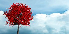3d Rendering Of Love Growing On A Tree Romantic Background On A Blue Sky In A Bright Day