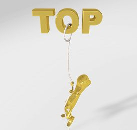 3d Rendering Of A Telephone Character Climbing On A Rope To The Top Isolated On White