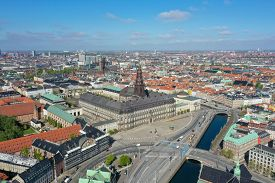 Copenhagen, Denmark - May 07, 2020: Aerial Drone View Christiansborg Palace In The City Centre