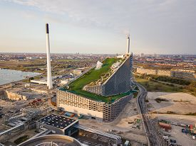 Copenhagen, Denmark - April 12, 2020: Aerial Drone View Of Amager Bakke, A Waste To Power Plant With