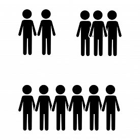 Icon, Symbol Of A Group Of People. Vector Illustration Of People In Black On A White Background. Sev