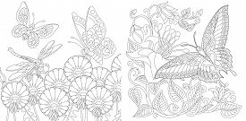 Coloring Pages. Vintage Butterflies Among Flowers. Line Art Design For Adult Colouring Book With Doo