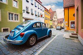 Rothenburg Ob Der Tauber, Germany - September 24, 2014: View On City Street With Old German Car. Bav