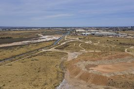 Aerial View Of An Industrial Area In The Port Adelaide District Of South Australia