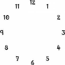 Clock Dial Interesting Numbers For The Hours On Transparent Background Designer Cut