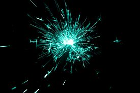 Turquoise Sparkler Countdown On Fire With Spread Glitter Sparks. Luxury Entertainment At E.g. New Ye