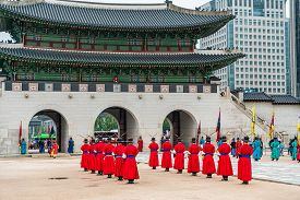 Seoul, South Korea - June 29, 2018: Royal Guard Changing Ceremony Of The Joseon Dynasty Is The Most