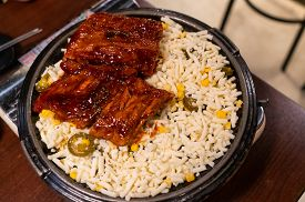 Korean Spicy  Barbecue Pork Ribs With Cheese.