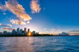 Sydney Downtown Skyline During Sunset, Nsw, Australia.