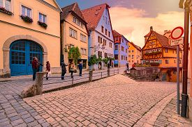 Rothenburg Ob Der Tauber, Germany - September 24, 2014: View On Old City Street With Traditional Arc