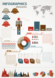 Retro infographics set. World Map and Information Graphics. Presentationdiagram.