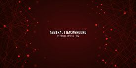 Geometric Luminous Plexus. Abstract Futuristic Background For Your Design. Vector Illustration. Red