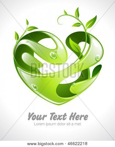 Vector illustration of an organic stylized heart with growing leaves