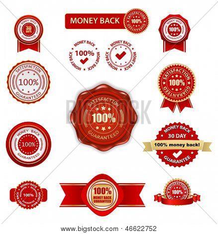 money back labels set