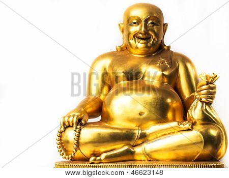Smiling Buddha, Chinese God Of Happiness, Wealth And Lucky, Copy Space On Left