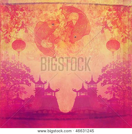 Japanese Koi Vintage Background