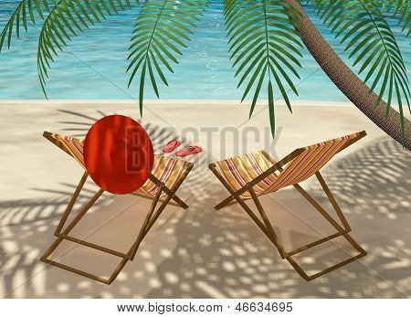 Colourful Deck Chairs On The Beach