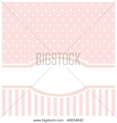 Vector card or invitation for birthday, wedding or baby shower party with white polka dots
