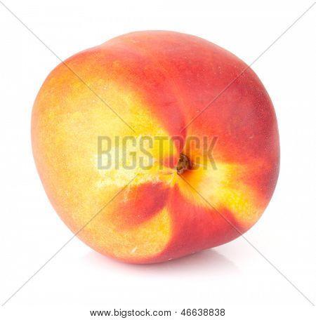 Ripe peach fruit. Isolated on white background