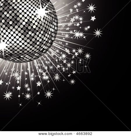 sparkling silver disco ball with stars bursting out from behind on a black background poster