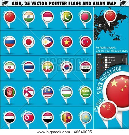 Asia Map and flags pointer icons set1
