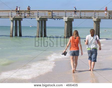 Young Women Walking Along Beach