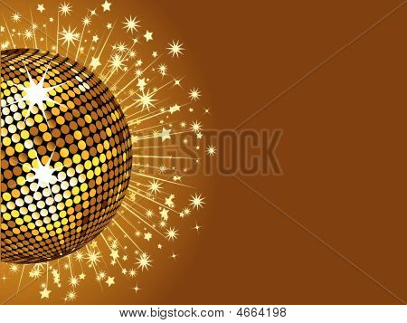 Gold Disco Ball And Stars