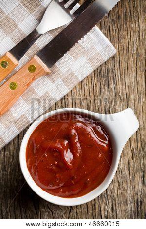 tomato barbecue sauce in ceramic bowl