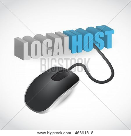 Localhost Sign Connected To Mouse Illustration