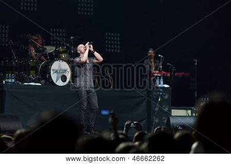 MOSCOW - OCT 12: Lead singer of DAUGHTRY group sing on stage of Stadium Live on October 12, 2012 in Moscow, Russia.