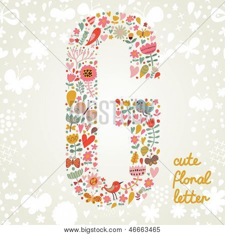 The letter G. Bright floral element of colorful alphabet made ??from birds, flowers, petals, hearts and twigs. Summer floral ABC element in vector