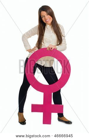 Young Woman Holding Female Sign Over White Background