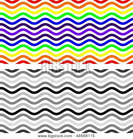 Curvy Seamless Pattern in Monochrome and Rainbow Colors poster