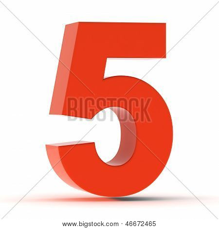 The Number Five - Red Plastic