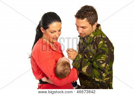 Military Father First Meeting With  His Son