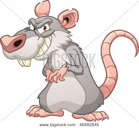 Evil cartoon rat. Vector clip art illustration with simple gradients. All in a single layer.