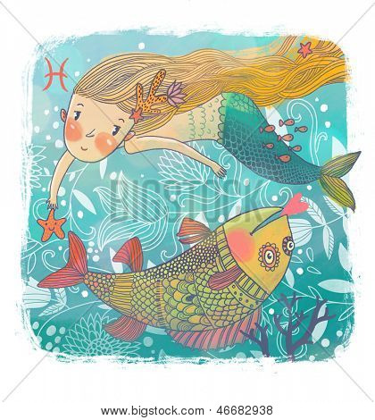 Zodiac sign - Pisces. Part of a large colorful cartoon calendar. Cute cartoon mermaid with beautiful fish in the sea