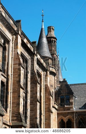 Glasgow University's tower built in the 1870s in the Gothic revival style. poster