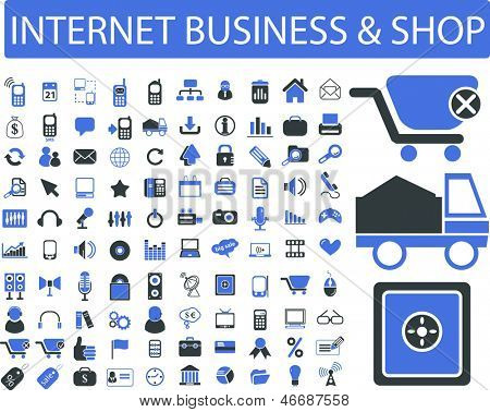 internet marketing, business, retail, shop logistics, icons, signs set, vector