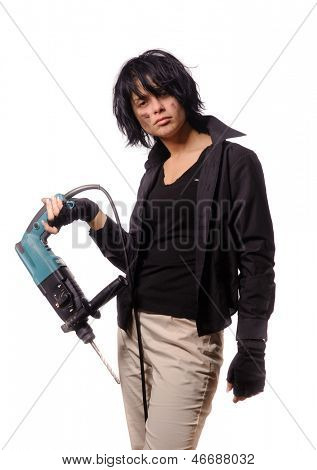 Sexy worker with perforator in black casual clothing, isolated on white