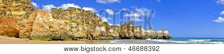 Panorama from Praia Tres Irmaos in Alvor in the Algarve Portugal