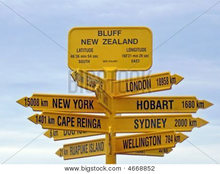 Bluff Signpost, New Zealand