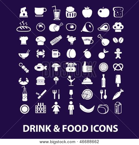 drink, food, restaurant, cafe, grocery store, shop icons, signs set, vector