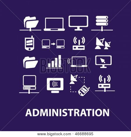 administration, networks, technology, computer, information, connect, link, communication, data icons, signs set, vector